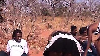 Outdoor deepthroat and nipple torment with African sluts