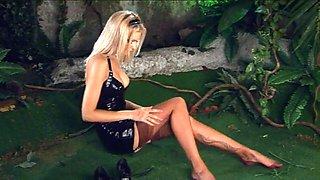 Natasha marley black latex dress &amp nylon stockings