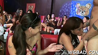 Horny darlings are deligthing stud with moist oral-service