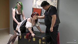 Nerdy maid abused by her fat boss and his kinky wife