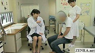 Subtitled Japanese doctor nurse handjob with cumshot