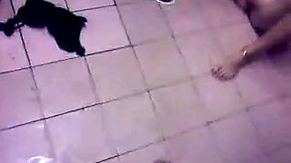 Dude fucks two crazy chicks in public bathroom