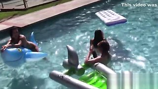 Wet teen lesbian foursome pussy eating pool party