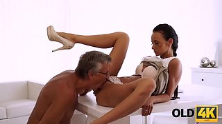 Old4k. old boss nails blackhaired secretary right on