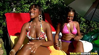 Rough sex with big booty oiled up ebony ladies