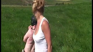 Strict english riding mistress whips her naughty slave