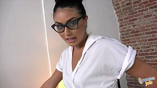 Stunningly sexy brunette with glasses makes his cock explode easily