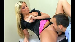 Voracious blond mommy Ahryan Astyn had stout oral sex with her kinky boss in the office