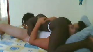 dirty black bitch does the 69 sex position with a white male
