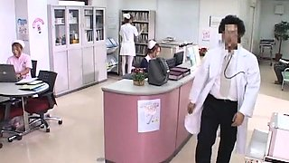 Sensual Oriental nurse in uniform can't resist a hard prick