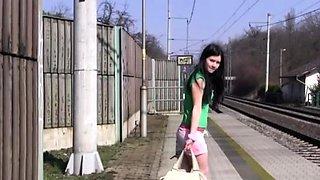 Teen and big monster Masturbating at the train station