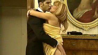 Sensual and elegant Austrian blonde milf gets on her knees
