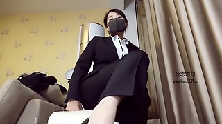 Chinese femdom mistress cock trample in pant suit and black heels