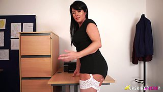 Filthy secretary Shelly shows her white panties upskirt
