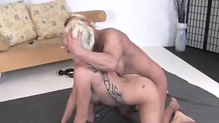 muscular Milf wrestling with her younger friend