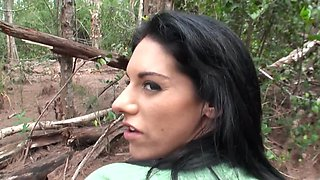 Busty Italian babe gets fucked in the woods while camping