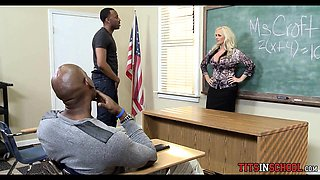 Blonde cougar Teacher has BBC Fantasy in Class