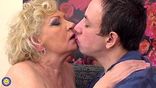 Old lady fucks a very nice young man