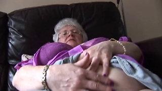 British granny Caroline in pink and grey