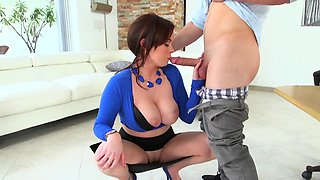 Busty brunette boss has fun with her new hung assistant
