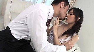 Manami Komukai blows and fucks in romantic scenes