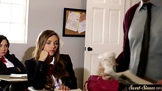lovely teen schoolgirl gets drilled