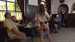 Euro slave sucks big cock in a pub