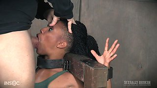 Ebony slave Nikki Darling abused with hands tied behind her back