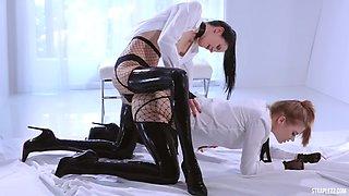 Lesbians inlatexstockings straplessfuck