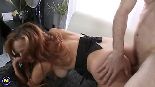 Ginger mom with big tits fucked by son