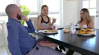 Young cooze is so horny she can't even wait for breakfast to finish