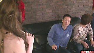 Three cocks have their kinky bondage way with Hinouchi You