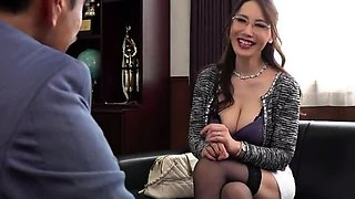 Bodacious Asian milf has two young guys satisfying her needs