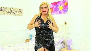 Big titted British MILF fingering herself