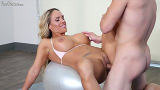 Sporty flexible babe Tegan James gets fucked right on the fit ball