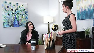 Horny Jennifer White and her lesbian assistant are caught by boss