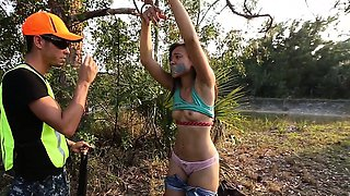 Ebony Teen Tied Punished And Fucked In The Forest