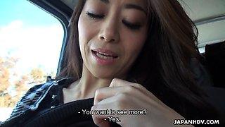 Japanese woman, Maki Hojo sucks dick in a car, uncensored