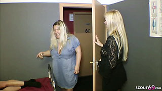 GERMAN MOM and AUNT caught STEP SON and fuck in MMF 3some