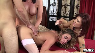 Three hot moms and one lucky man have wild and sweaty sex