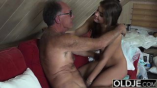 Dirty young girl secretly lusting for old dick