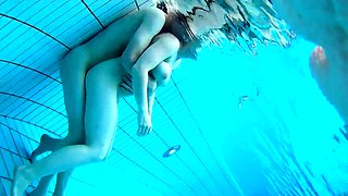 Hot amateur brunette with big tits gets fucked in the pool