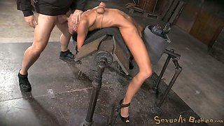 Flexible brunette is bent over the wooden bar and mouth banged by BBC