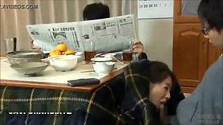 Japanese stepmom fucks son under table