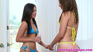 Beach lesbian rimmed while pussy fingered