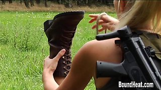 Two Girls Caught In The Woods And Tied Up By Busty Huntress