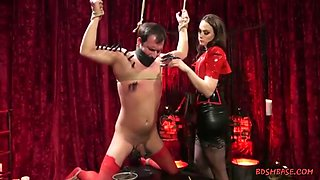 Superhot mistress is in sexy clothes while spanking