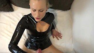 Cute girlfriend fucked in latex catsuit