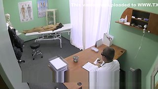 Slim skinny young student cums in for check up gets the doctor