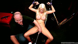 Magnificent blonde babe is craving to be pounded with fuck machine